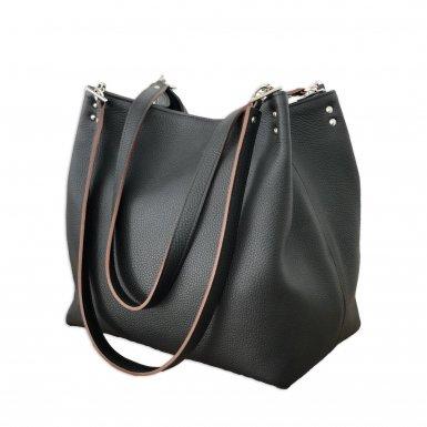 SHOPPING BAG & REMOVABLE HANDLES - BLACK FULL-GRAIN & BLACK FULL-GRAIN & BLACK FULL-GRAIN & BLACK FULL-GRAIN