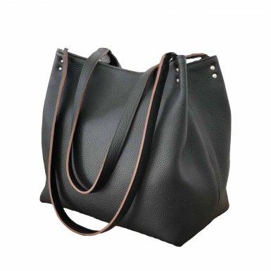SHOPPING BAG & REMOVABLE HANDLES - BLACK FULL-GRAIN & UNDERSIDE IN LEATHER FINISH & BLACK FULL-GRAIN & UNDERSIDE IN LEATHER FINISH