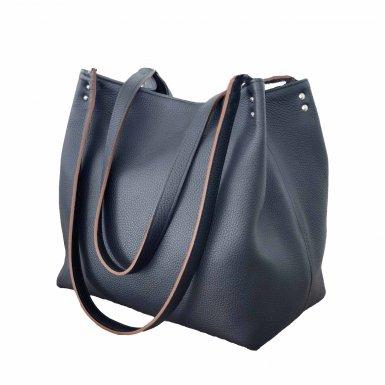 SHOPPING BAG & REMOVABLE HANDLES - BLUE FULL-GRAIN & UNDERSIDE IN LEATHER FINISH & BLUE FULL-GRAIN & UNDERSIDE IN LEATHER FINISH