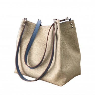 SHOPPING BAG & REMOVABLE HANDLES - LINEN NATURAL & BLUE JEAN FULL-GRAIN & BLUE JEAN FULL-GRAIN & BLUE JEAN FULL-GRAIN