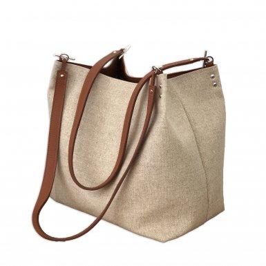 SHOPPING BAG & REMOVABLE HANDLES - LINEN NATURAL & CAMEL SMOOTH & CAMEL FULL-GRAIN & CAMEL FULL-GRAIN