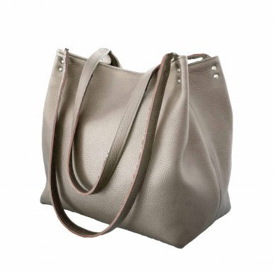 SHOPPING BAG & REMOVABLE HANDLES - TAUPE  FULL-GRAIN & UNDERSIDE IN LEATHER FINISH & TAUPE  FULL-GRAIN & UNDERSIDE IN LEATHER FINISH