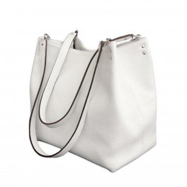 SHOPPING BAG & REMOVABLE HANDLES - WHITE FULL-GRAIN & WHITE FULL-GRAIN & WHITE FULL-GRAIN & WHITE FULL-GRAIN