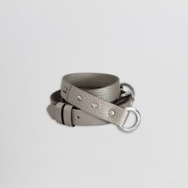 Shoulder strap buckle 97, in Silver bulcalf leather