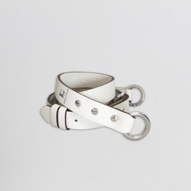 Shoulder strap buckle 97, in White bulcalf leather