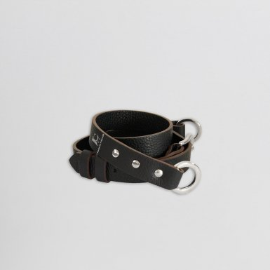 SHOULDER STRAPBUCKLE, IN BLACK BULLCALF LEATHER