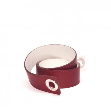 Shoulder strapbuckle Large, Bordeaux leather & White leather