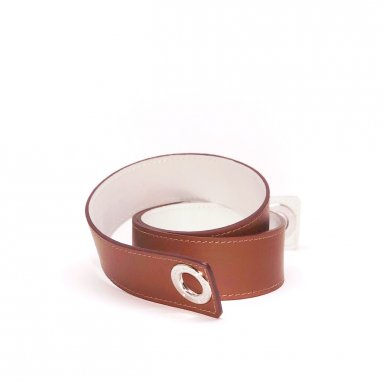 Shoulder strapbuckle Large, Camel leather & White leather