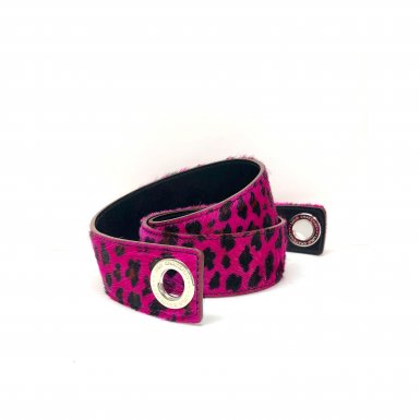 SHOULDER STRAPBUCKLE LARGE, IN FUSCHIA LEOPARD PONEY-EFFECT FUR