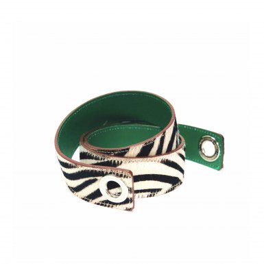 SHOULDER STRAPBUCKLE LARGE, IN ZEBRA PONEY-EFFECT FUR & GREEN CALFSKIN LEATHER