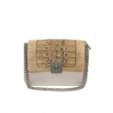 Silver LITTLE BAG - Sand & Golden tweed  GUS DREAM FLAP - Chain STRAP