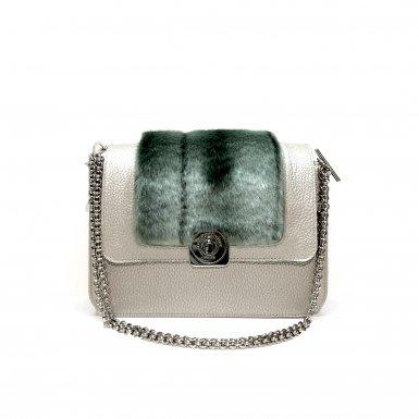 Silver LITTLE BAG - Silver & Green Faux Fur GUS DREAM FLAP - Chain STRAP