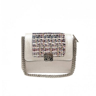 Silver LITTLE BAG -  Silver & Multicolor tweed GUS FLAP - CHAIN STRAP