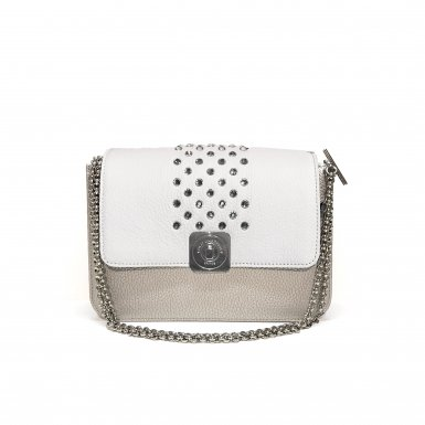 Silver LITTLE BAG - White & Zebra GUS STRASS FLAP - Chain STRAP