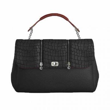 SMALL BAG BLACK - ROCK FLAP BLACK ALLIG & BLACK-ECRU - HAND-CARRY HANDLE RED