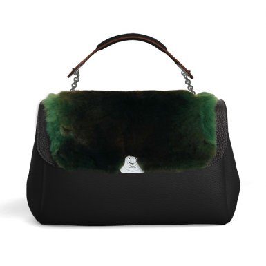 SMALL BASE - BLACK & LEOPOLDINE FLAP - GREEN FUR & HAND-CARRY HANDLE - BLACK