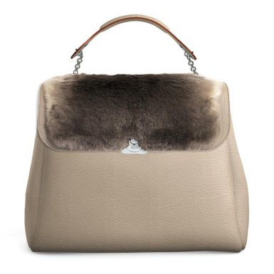 TAUPE LARGE BASE - TAUPE FUR LEOPOLDINE FLAP - TAUPE HAND-CARRY HANDLE