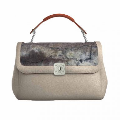 TAUPE SMALL BAG - DREAM FLAP TAUPE FULL-GRAIN & TAUPE FUR - ORANGE HAND-CARRY HANDLE